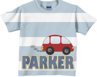 Personalized Red Car T-Shirt, Toddler Boys Tee