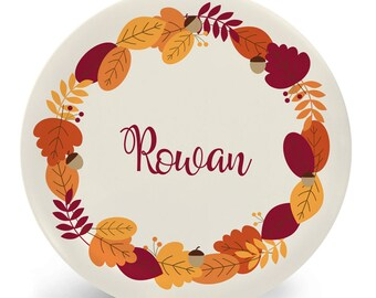 Personalized Thanksgiving Plate for Kids - Autumn Leaves - Child's Bowl Plate Mug Placemat - Melamine - Personalized with Name (Plastic)