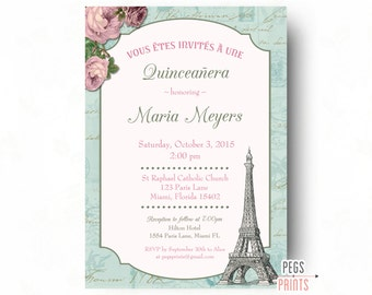 Quinceanera invitation quinceanera invites quinceanera shabby chic quinceanera invitation printable paris quinceanera invitation quinceanera invites quinceanera invitations stopboris Choice Image