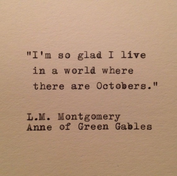 Us Stock Live Quote: Anne Of Green Gables October Quote Typed On Typewriter