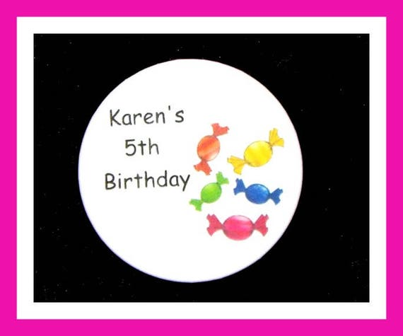 Birthday Party Favors, Personalized Button,Candy Pin Favor,School Favors,Kids Party Favor,Boy Birthday,Girl Birthday,Pins, Set of 10