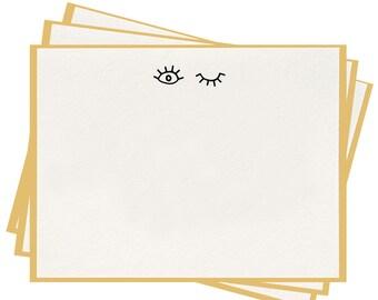 Letterpress 'Wink' Flat Note Cards - Set of 8