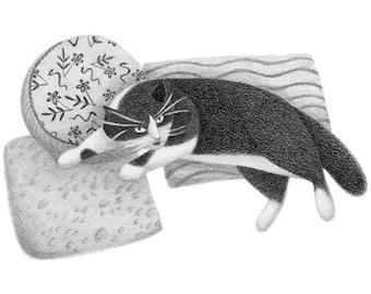 Cat on Pillows - 4x6 print
