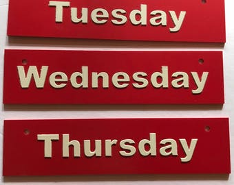 """vintage plastic signs work week Monday thru Friday 10"""" by 3"""" so many things one could do with these"""