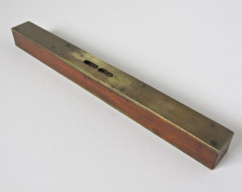 Vintage Spirit Level - Old Wooden and Brass Level - Vintage Wooden Tool - Man Cave Decor