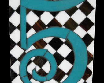 Tudor Number 5 Five Art Glass Mosaic