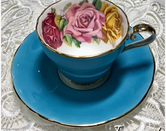 Stunning Aynsley Corset Espresso Cup & Saucer in teal blue