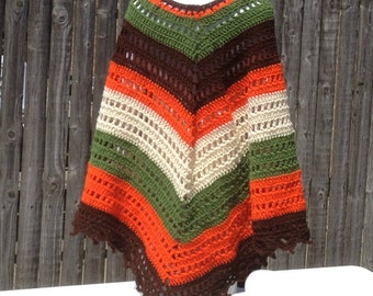 Crochet Poncho Shawl Hand Crocheted Wrap Hippie Bogo Poncho Retro Vintage Ready to Ship   Gift for Her Gift for Mom