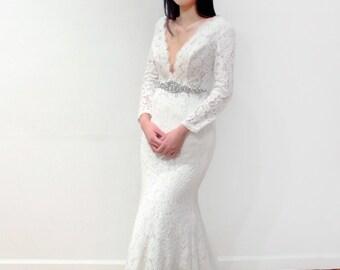 Long Sleeve Lace Plunging V Neck Mermaid Wedding Dress