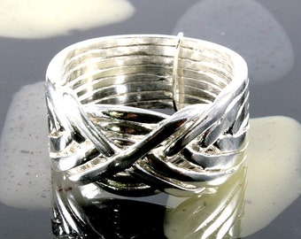 Puzzle ring in 925 Sterling silver, 8 bands, fine design    -  Puzzlering 925 Sterling Silver 8 Baender - 1257