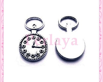 Set of 15 REF1258X3 silver clock charms