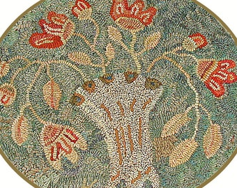 Floral rug hooking pattern//Nosegay//oval//muted colors//vintage looking