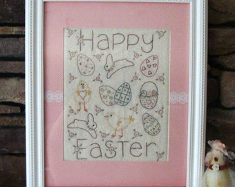 Happy Easter Hand Embroidered Sampler in Custom Pink Polka Dot Mat and White Wooden Frame