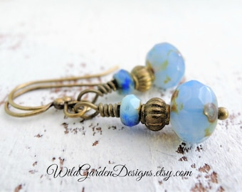 Serenity Blue Earrings Rustic Blue Opal Glass Wedding Jewelry Small Blue Dangles Boho Earrings Czech Glass Dangles Vintage Inspired Earrings