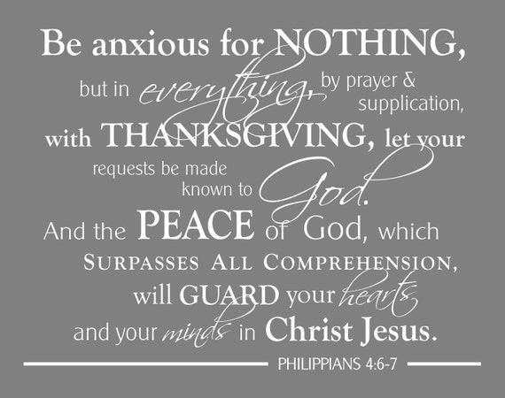 Philippians 4 6 7 scripture wall art print be anxious for like this item negle Images