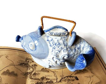 Vintage Hand Painted Blue Chinese Koi Fish Tea Pot /70s 2 Cup Stoneware Teapot /