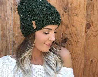 Kale Green Knit Wool Hat || Cap w/ Faux Fur Ivory Cream Brown Pom Pom Wool Hair Earwarmer Accessory Fashion Chunky Moss Head Unisex Men Girl