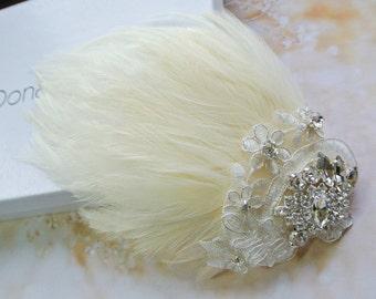 Wedding Hair Clip- Bridal  Fascinator- Wedding Fascinator -Feather Hair Clip - Ivory Cream  Hair Piece- 1920s Headpiece-STELLA