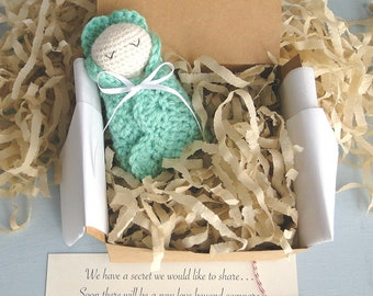 Baby Announcement, Pregnancy Announcement, For Grandparents, New Daddy, Little Swaddled Baby Doll, Ready to Ship, Gender Neutral Colors