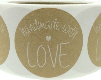 "500 Handmade with Love 2"" Inch Round Shape Natural Kraft Paper Stickers with Eco Friendly White Ink"