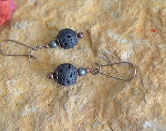 Rustic lava and Czech glass on vintage brass kidney ear wires.