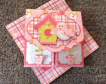 A birdie told me gatefold birthday card with matching insert and envelope.
