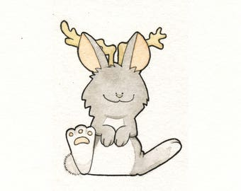 Watercolor North American Jackalope