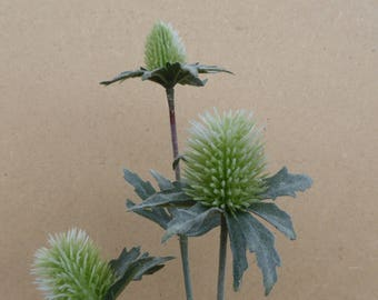 Artificial Thistle Bud Flower Stem Green Spray With 3 Heads 43cm