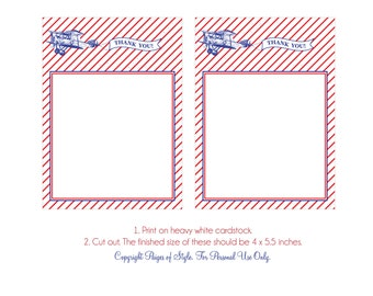 DIY Printable Thank You Card - Airplane Party