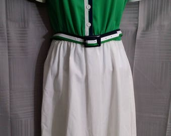 Vintage 70s Walden Classics Tennis Dress Size 10 Medium Boating Golf Green Navy White Fit