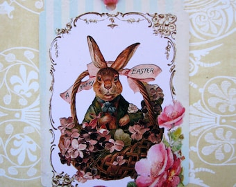 Cottage Sweet Easter Bunny in a Basket Gift Tags