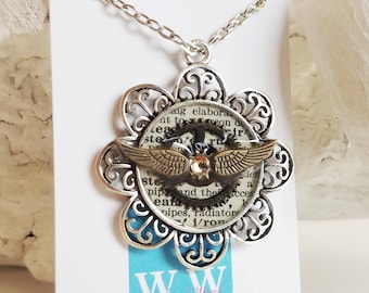 READY TO SHIP Steampunk Wings Necklace - Wings and Gears Recycled Book Jewelry - Salvaged Book Key Floral Necklace with Gear
