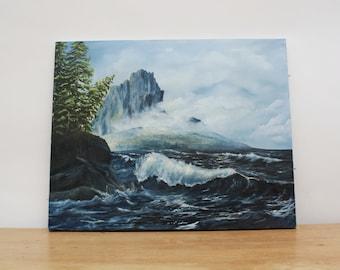 Vintage Seascape Oil Painting on Canvas // Nautical // Waves // Ocean Art