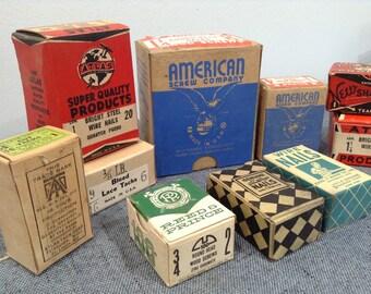 Vintage Screws, Nails, Tacks, Vintage New Old Stock Restoration Hardware, Woodworking Supply, Old Nails, Old Tacks, Old Screws, Hardware Lot