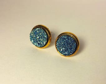 10 mm druzy earrings with gold settings