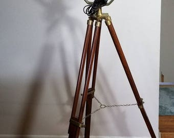 Hand Crafted Marine Floor Search Light With Tripod Nautical Spot Studio Lamp