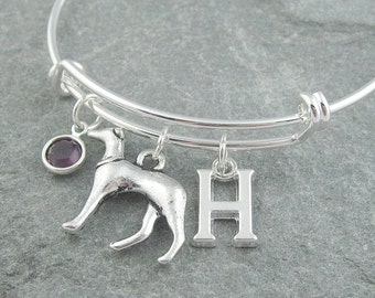 Greyhound bracelet, silver dog bracelet, initial bracelet, swarovski birthstone, personalized jewelry, dog jewelry, birthstone jewelry