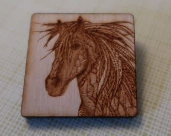 Wood lasered Horse brooch