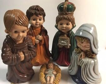 Vintage Arnel's Hand Painted Children's Ceramic Nativity Set - Jesus, Mary, Joseph, Wise Men - Big Eyes - 1975