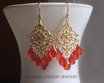 Padparadscha Paradise Chandelier Earrings, cubic zirconia orange earrings. 18k gold vermeil