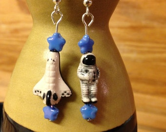 Mini Astronaut and Space Shuttle Earrings