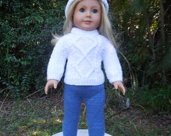 Hand knitted, white Irish sweater with hat and pants/leggings made for American Girl and other similar 18 inch dolls.