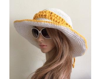 Women's Sun Hat.Floppy hat.Crochet cotton summer hat.Wide brim hat.Beach hat.Knit sun hat.Summer fashion hat.Cowboy hat.Gift for her