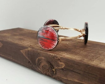 Red Sunburst Stone Wire Wrapped Bangle, Bracelet, Bourbon and Boweties Inspired