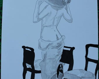 """drawing of nude female erotic """"Mad"""""""
