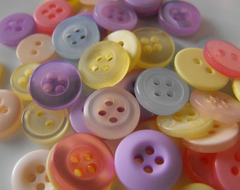 Pastel Buttons, 50 Small Assorted Round Sewing Crafting Bulk Buttons