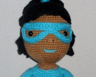 Handmade 18 inch African American/Black/Ethnic/Brown crochet doll