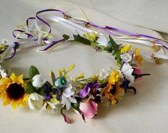 Custom Flower Crown Hair Wreath -AmoreBride Original- Sunflower Hippie Headband Bridal hair Accessories destination wedding floral halo