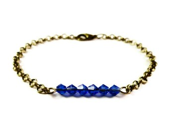 Sapphire Blue Crystal Bracelet, Beaded Bar Bracelet, September Birthstone Bracelet, Beadwork Jewelry, Simple, Dainty, Bronze Chain Bracelet
