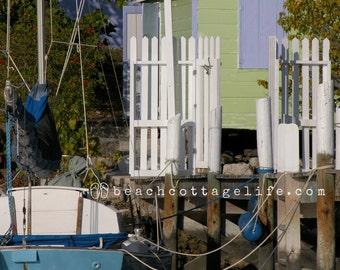 Sailboat & Boathouse Harbor Bahamas coastal print Nautical Lime Green Blue Hope Town Harbour Abaco Out Islands Hopetown Dock Beach House